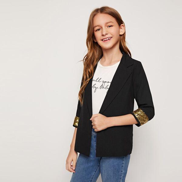 Girls Notched Collar Sequin Cuff Blazer, Black