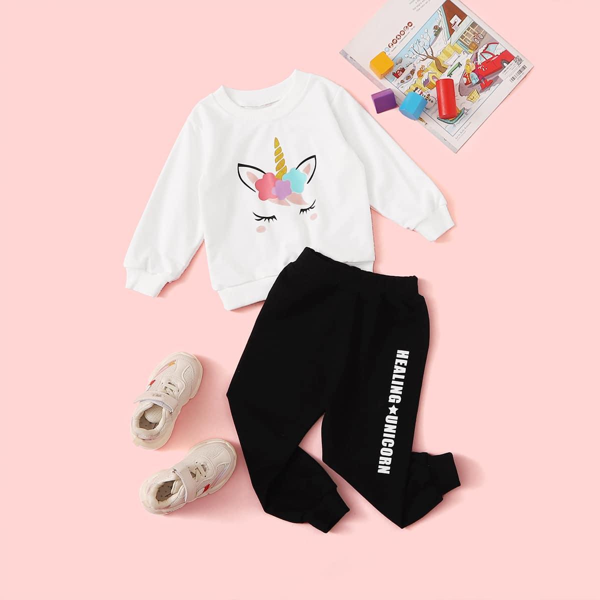 SHEIN / Schwarz und Weiss Cartoons  Lässig Kleinkind Mädchen zweiteilige Outfits