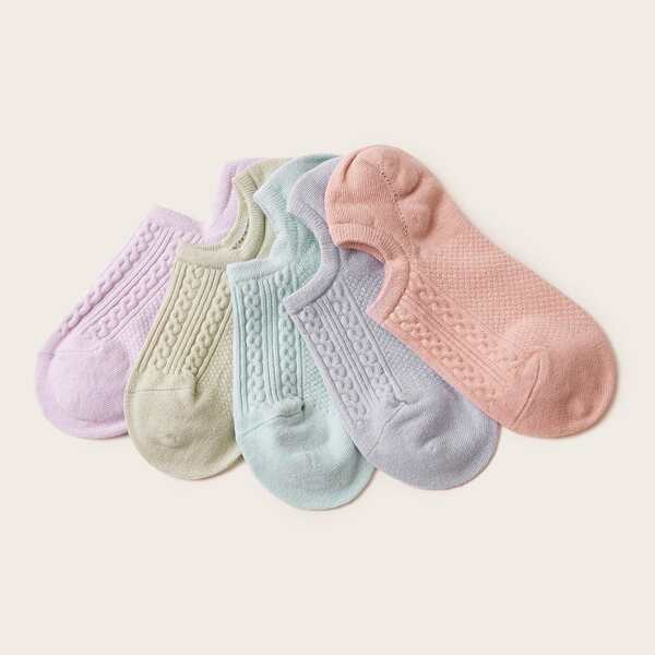 5pairs Simple Ankle Socks, Multicolor