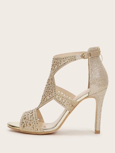 Metallic Rhinestone Decor Stiletto Heels