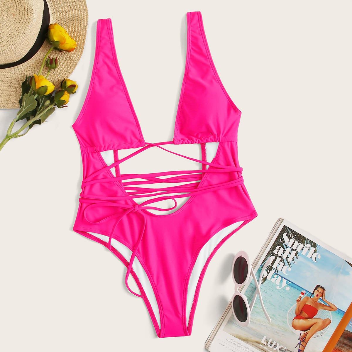 Неоновый розовый слитный купальник с узлом от SHEIN