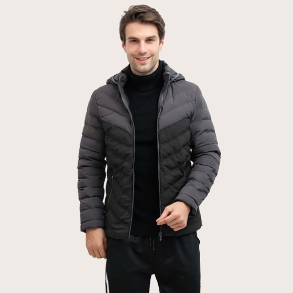 Men Zip Up Hooded Puffer Coat, Black
