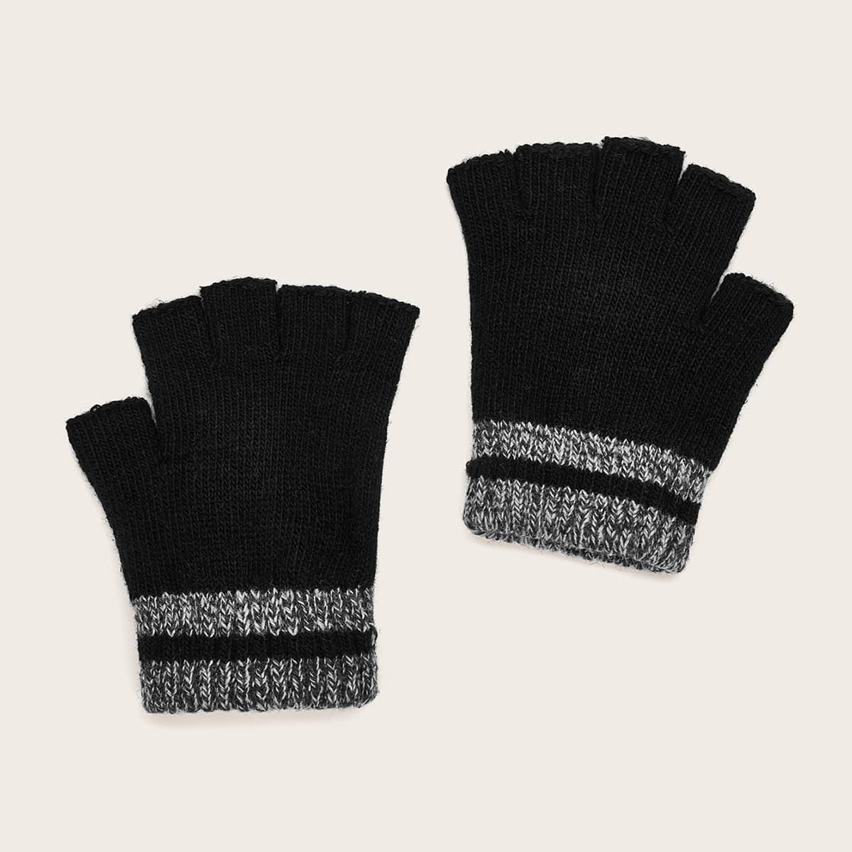 1 paar peuter jongens kleurblok open vinger handschoenen