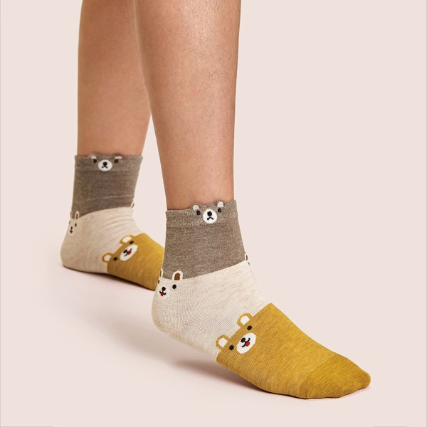 1pair Cartoon Graphic Ankle Socks, Multicolor