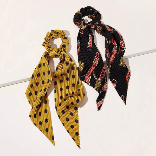 2pcs Polka Dot & Belt Pattern Scrunchie Scarf, Multicolor