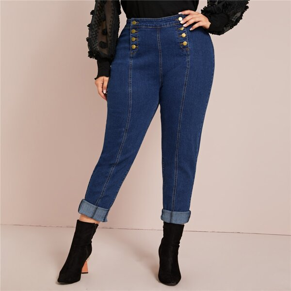 Plus Dark Wash Double Button Skinny Jeans, Navy