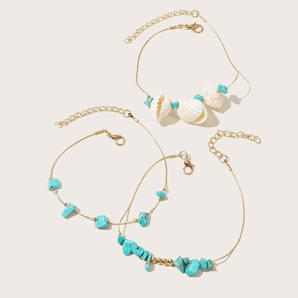 3pcs Shell & Turquoise Decor Chain Anklet, Multicolor
