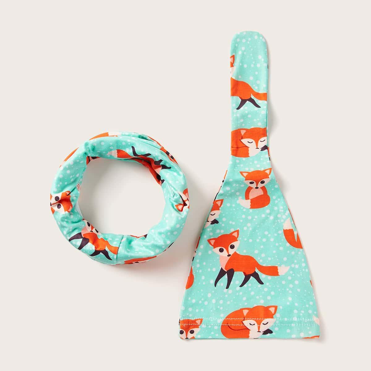 2 stks Baby Fox Patroon Muts & Ringsjaal