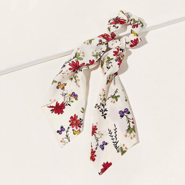 Ditsy Floral Pattern Scrunchie Scarf, Multicolor