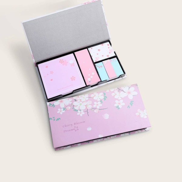 1pack Boxed Cherry Blossoms Print Sticky Note