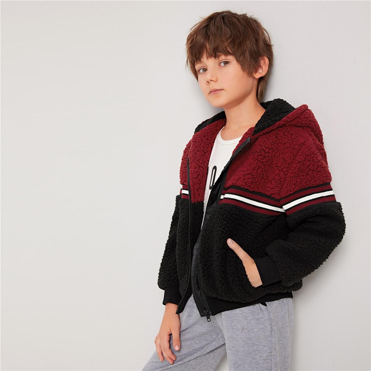 Двухцветная куртка с полосками для мальчиков от SHEIN