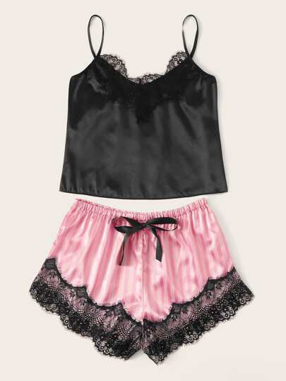 SheIn / Contrast Lace Satin Cami Top With Striped Shorts