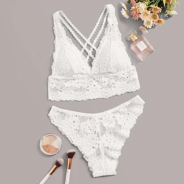 Floral Lace Criss Cross Lingerie Set, White