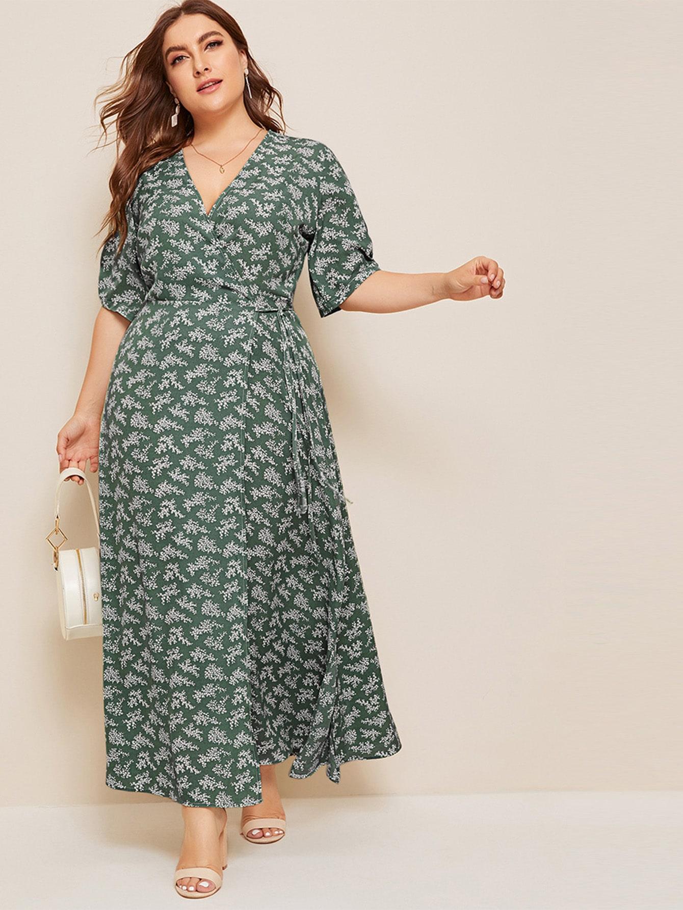 Платье на запах с узлом и цветочным принтом размера плюс