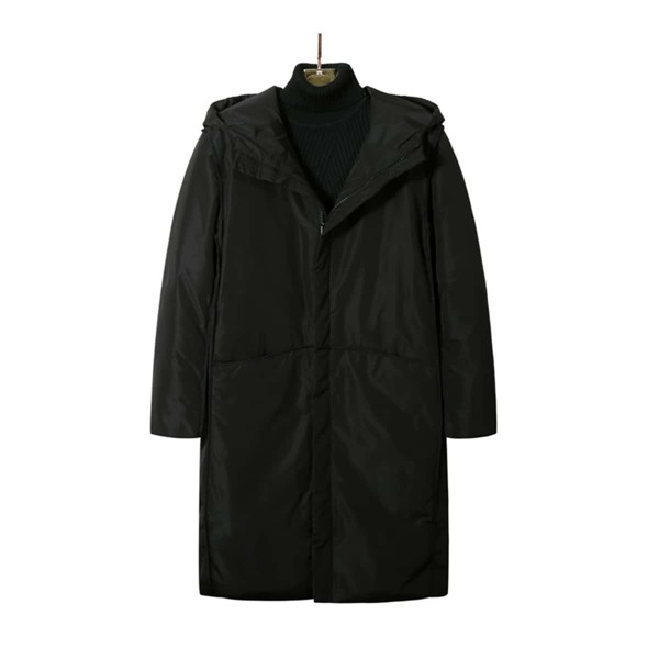 Men Zip Up Hooded Coat, Black