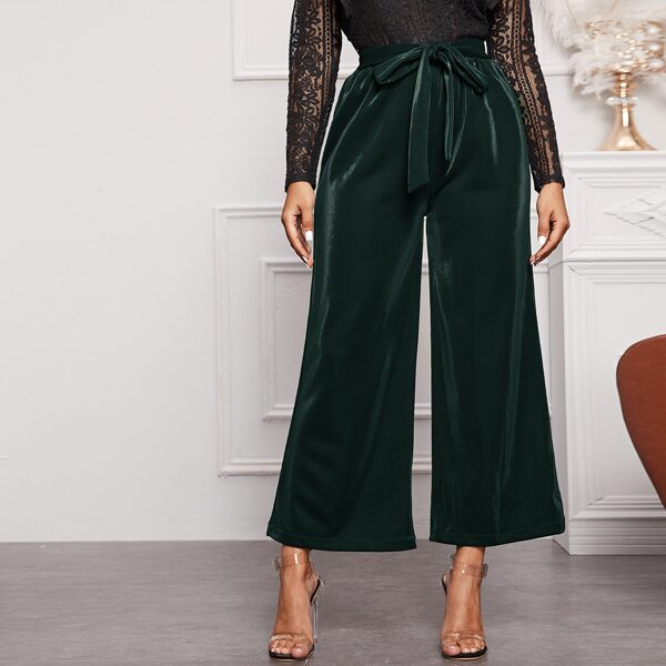 Solid Belted Wide Leg Pants, Green