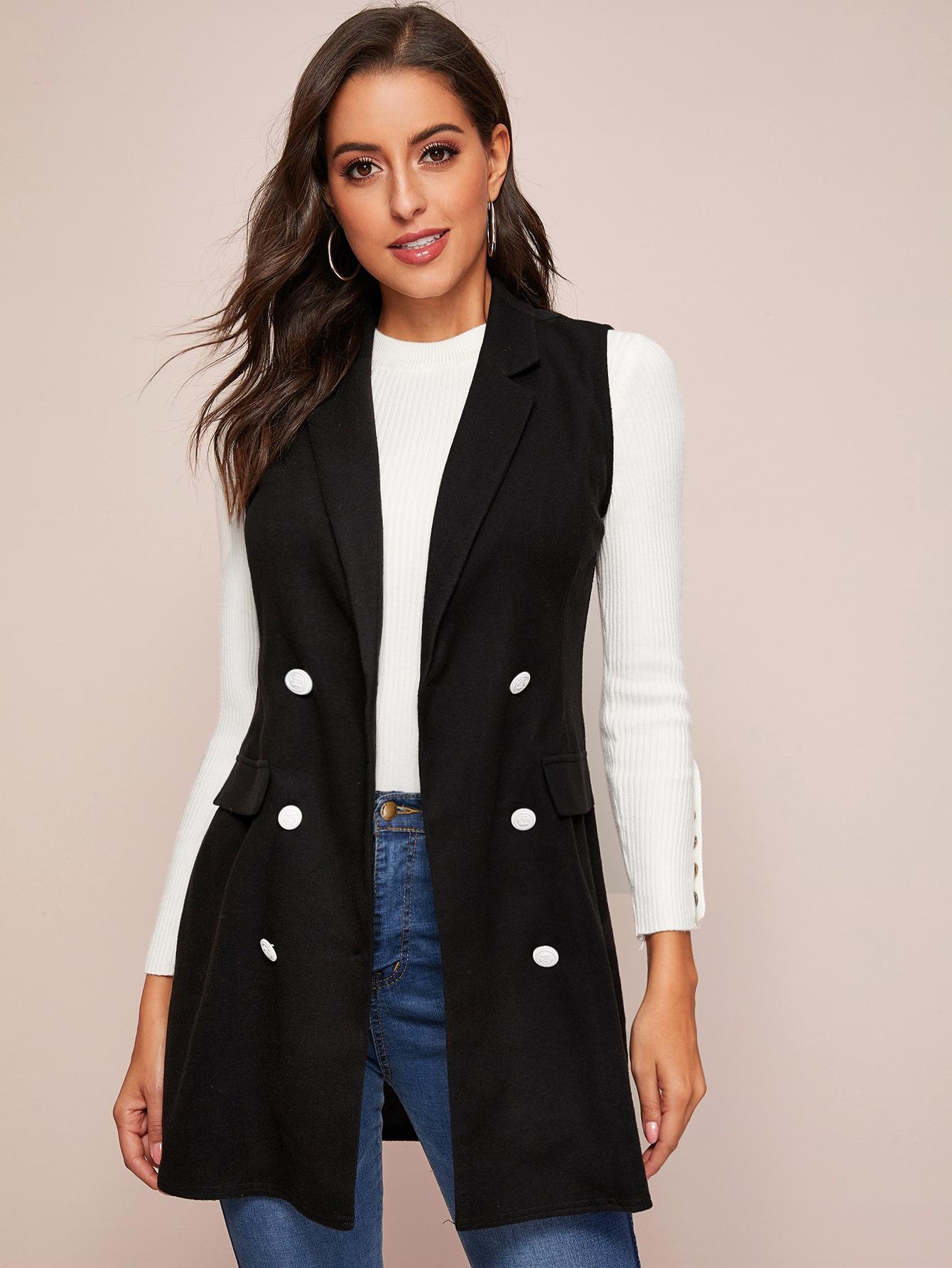 Двубортный пиджак-жилет