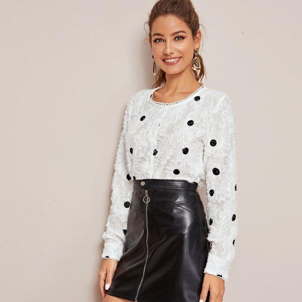 Polka Dot Raw Trim Button Up Blouse, White