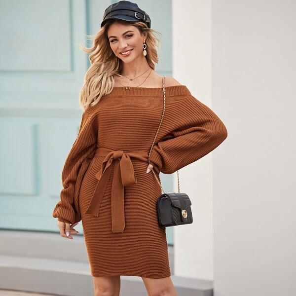 Bardot Self Tie Bishop Sleeve Sweater Dress, Brown