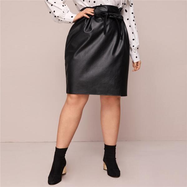 Plus PU Leather Self Tie Straight Skirt, Black