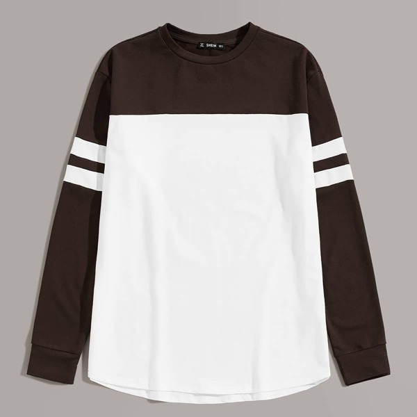 Men Varsity Striped Sleeve Two Tone Sweatshirt, Multicolor