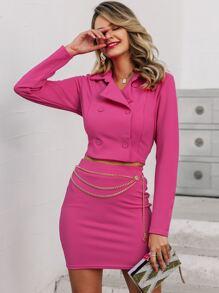 Double | Jacket | Chain | Skirt | Neon | Pink | Set