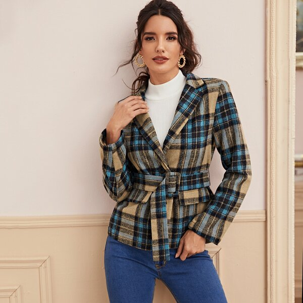 Single Breasted Belted Plaid Blazer, Multicolor