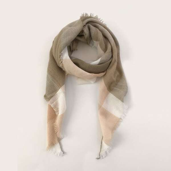 Color Block Raw Hem Scarf, Multicolor