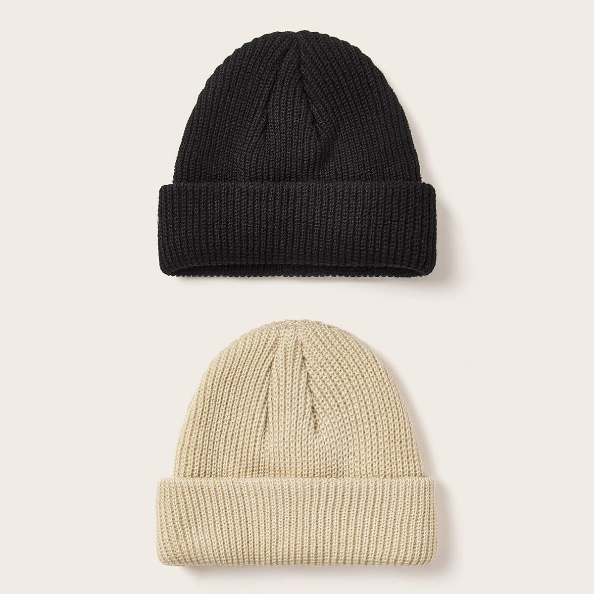 Однотонная вязаная шапка 2шт от SHEIN