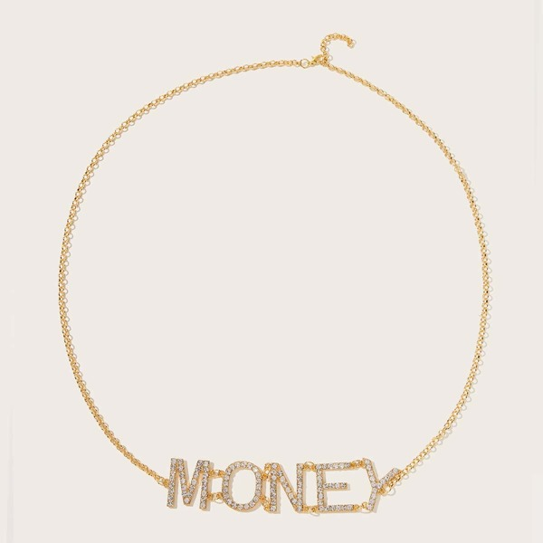 Rhinestone Engraved Letter Waist Chain, Gold