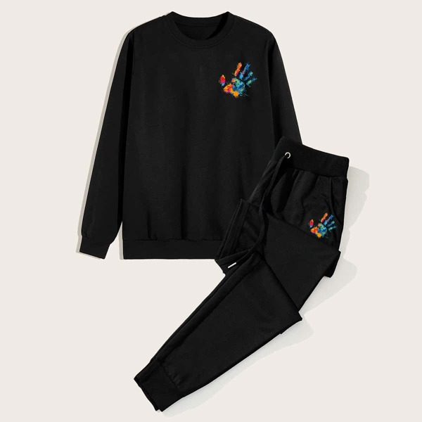 Men Hands Print Sweatshirt & Drawstring Sweatpants, Black