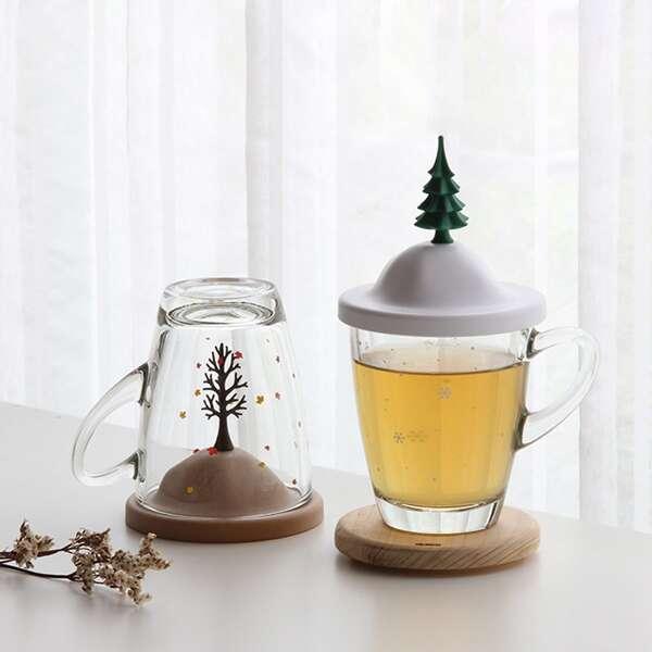 4pcs Plant Design Cup Lid, Multicolor