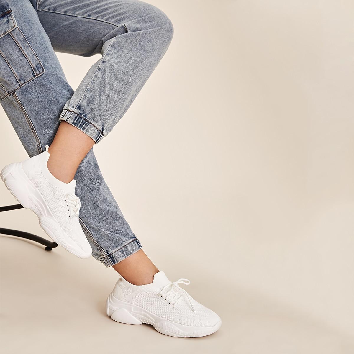Кроссовки на шнурках и платформе от SHEIN