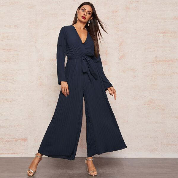 Roll Up Sleeve Self Belted Pleated Wide Leg Jumpsuit, Navy
