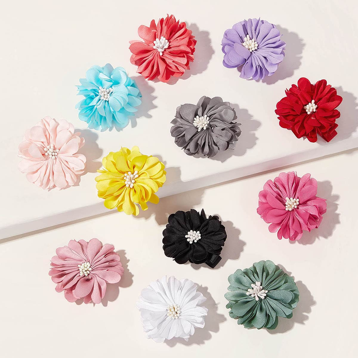 Зажим для волос с цветочным декором для девочек 12шт