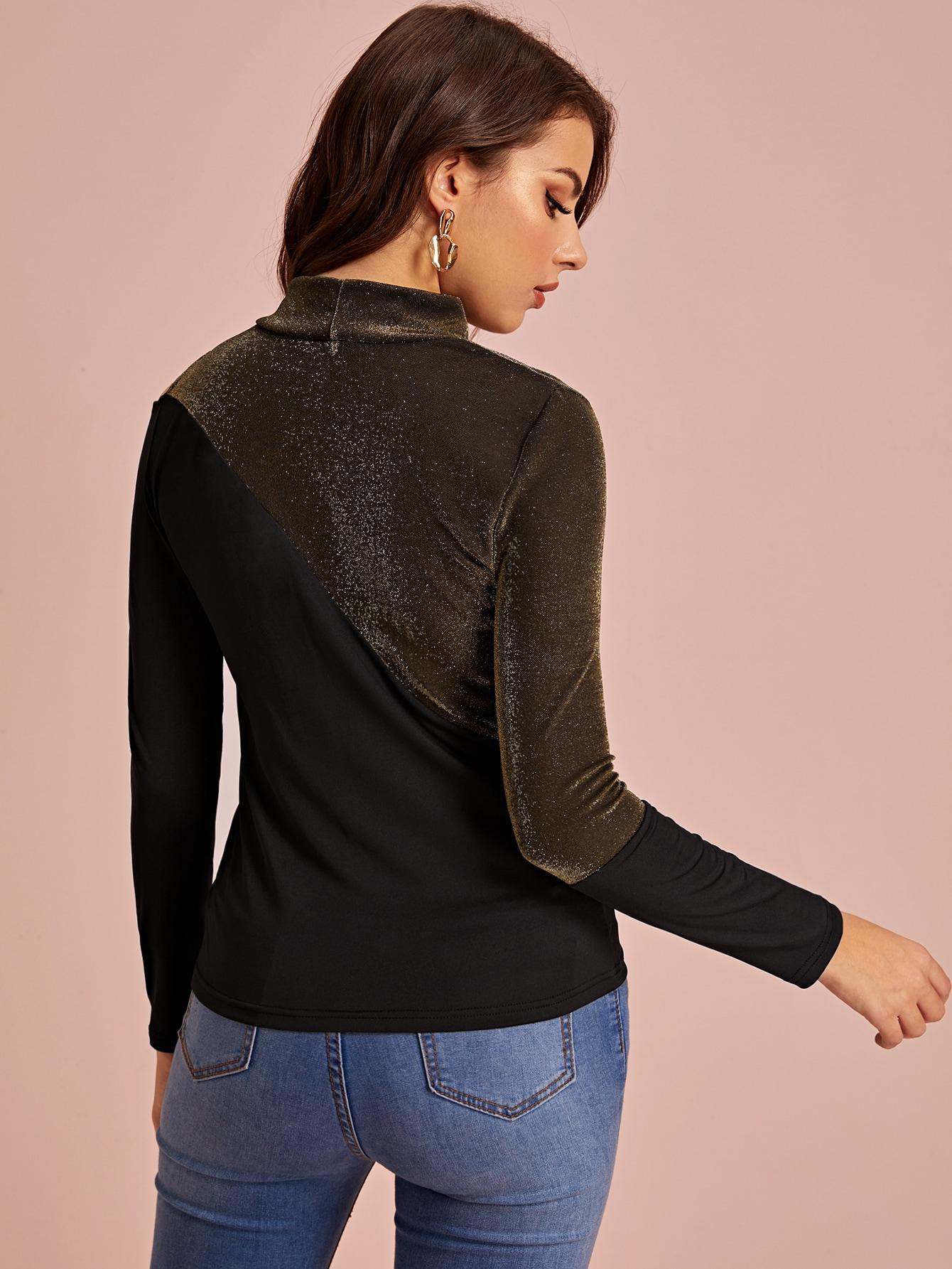 SHEIN / Camiseta de hombros descubiertos de cuello alzado brillante en contraste