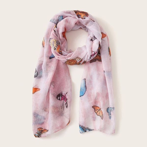 Butterfly Pattern Scarf, Multicolor