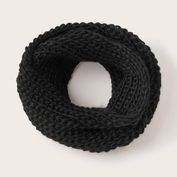 Solid Knitted Ring Scarf, Black