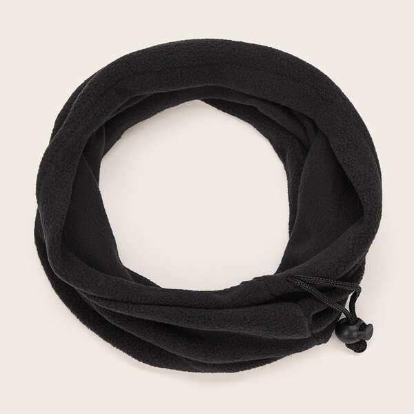 Drawstring Decor Ring Scarf, Black