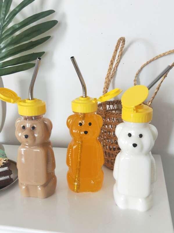 1pc Bear Shaped Plastic Bottle, Yellow