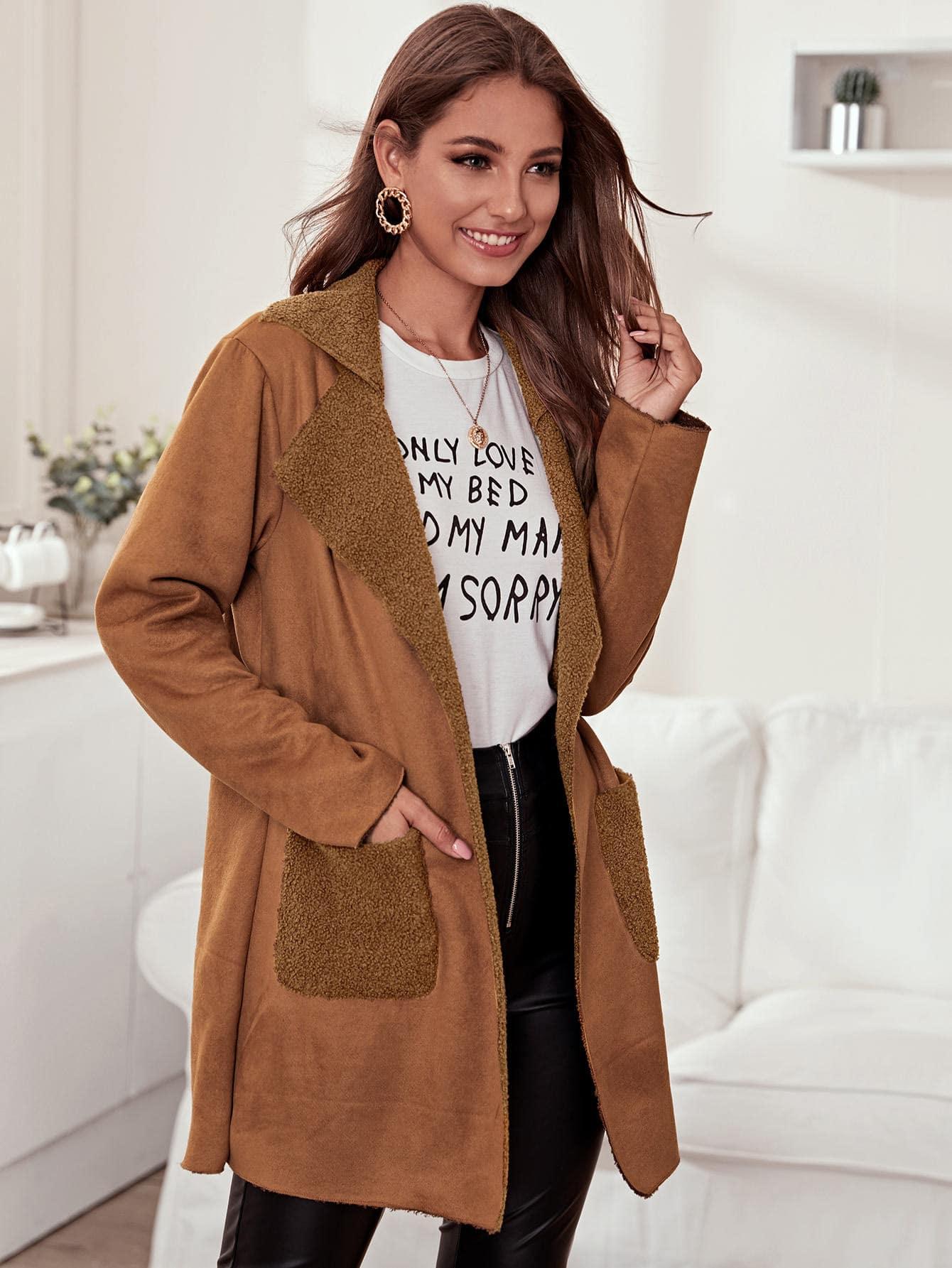 Замшевое пальто с карманом