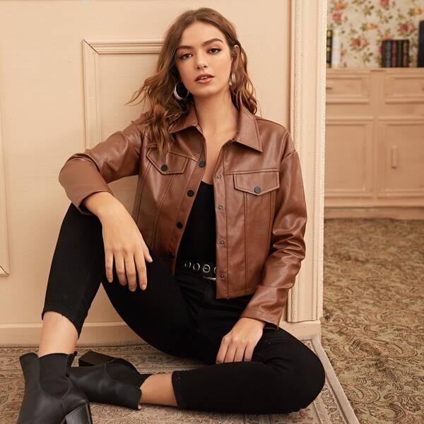 Flap Pocket Faux Leather Trucker Jacket, Brown