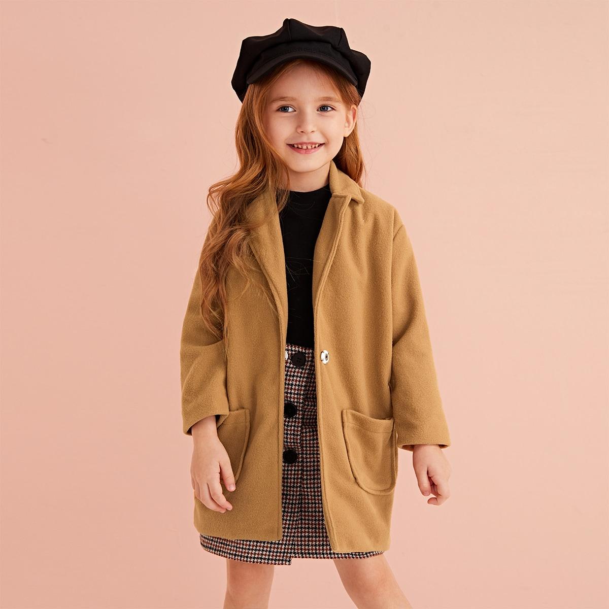 Пальто с карманом и оригинальным вырезом для девочек от SHEIN