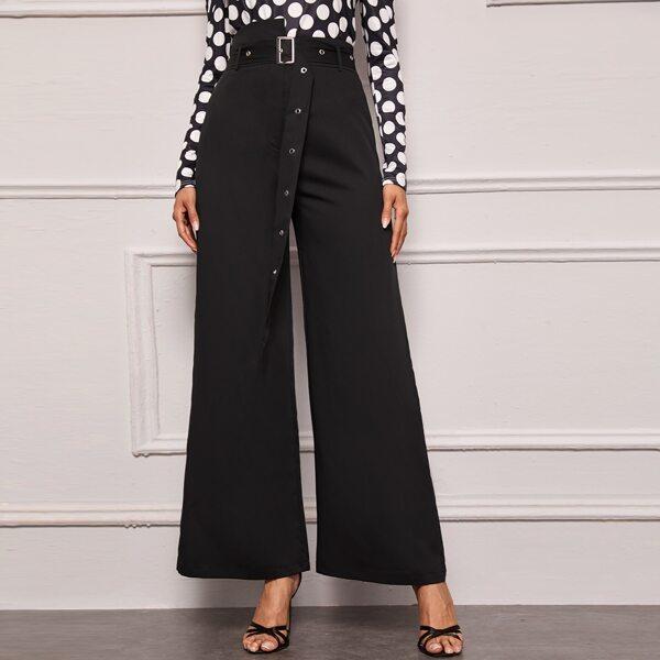 Asymmetrical Waistband Buckle Belted Wide Leg Pants, Black