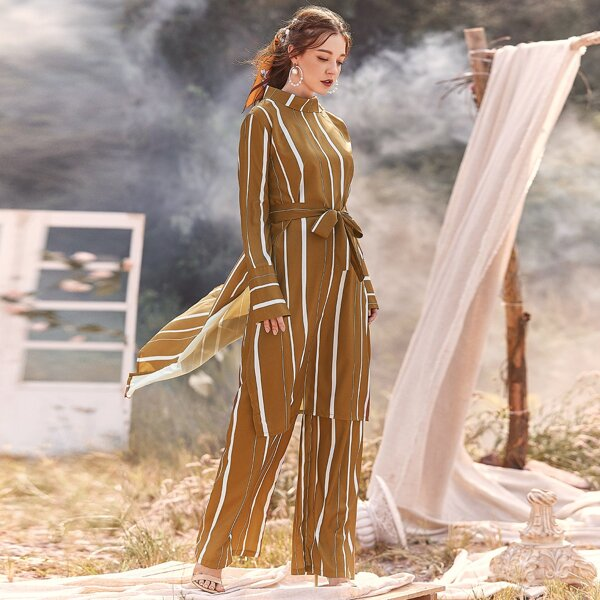 Striped Self Tie Split Hem Longline Shirt, Camel