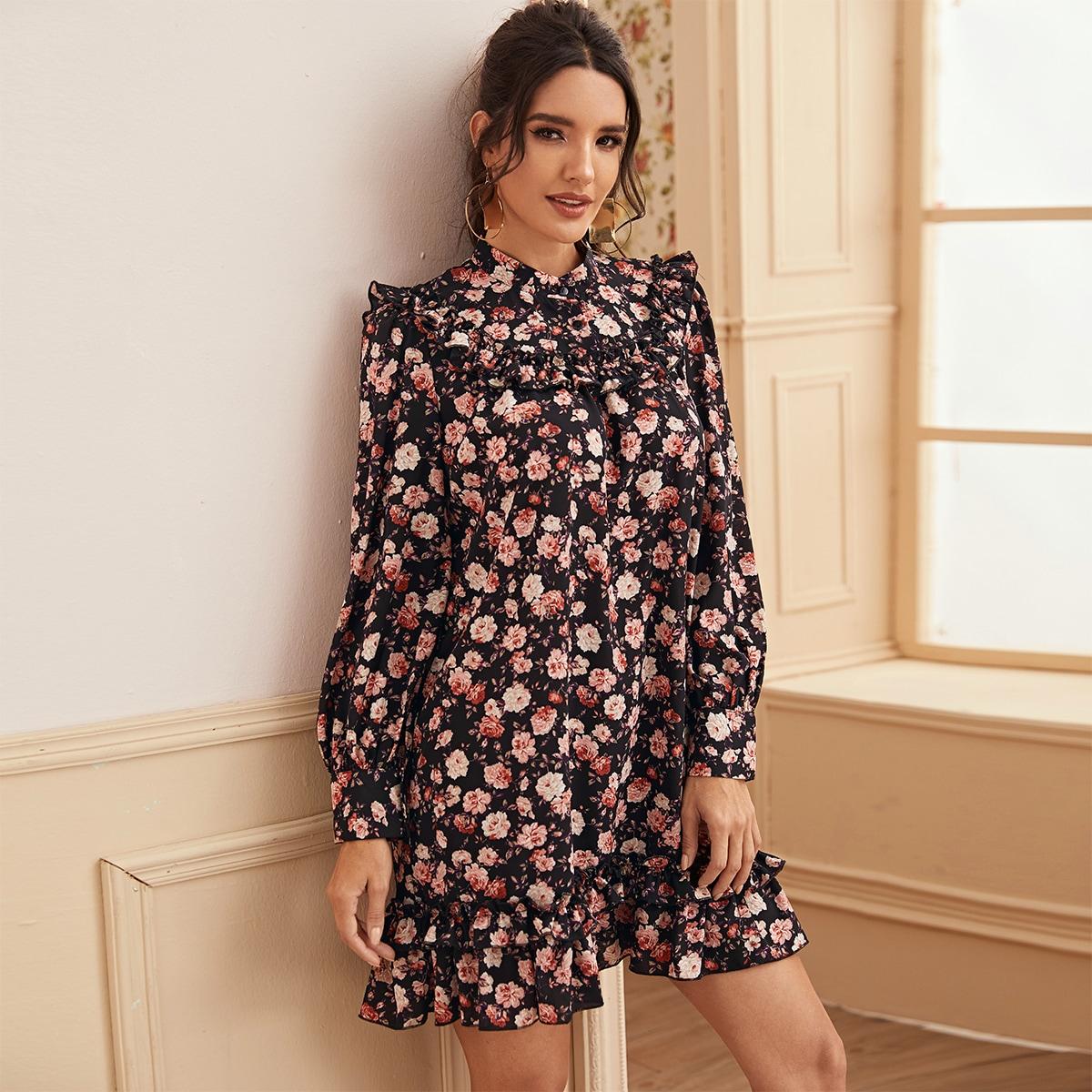 SHEIN / Vestido ajustado ribete fruncido con estampado floral