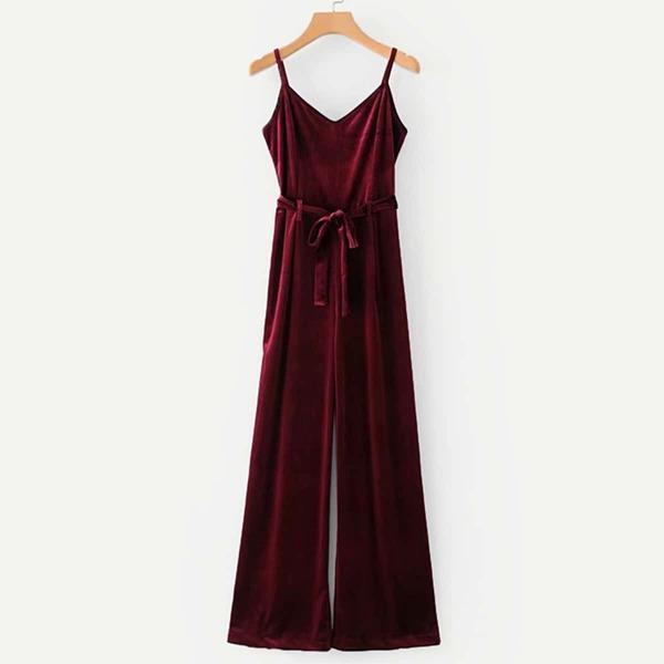 Plus Self Tie Velvet Cami Jumpsuit, Burgundy