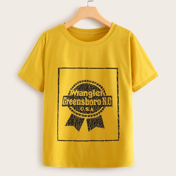 Letter & Graphic Print Tee, Yellow
