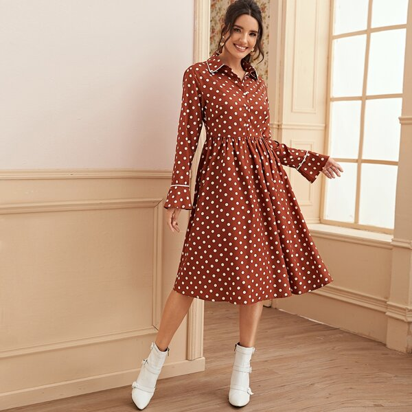 Polka Dot Button Through Shirt Dress, Brown