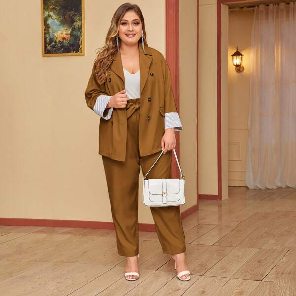 Plus Double Breasted Blazer & Paperbag Waist Belted Pants, Brown